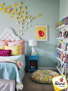 #HazloTúMismo Decora tu dormitorio con coloridas mariposas de papel pegadas en la pared.