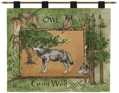 A gray wolf stands staunch and proud by pine trees and an owl within a rustic tree frame border leaves in an warm green earthy and brown color pallet. Coordinate your decor with the matching pillows, throw blanket or any of the other items featuring, brown bears, caribou, moose and canoes from the Nature Collection.    http://www.delectably-yours.com/Search.aspx?k=wolf#