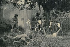"""""""A Cannibal Feast in Fiji,"""" 1869. This reenactment was photographed by Coulon."""