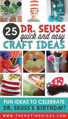 So many QUICK and EASY Dr. Seuss ideas in one place! The kids are going to love these making these crafts! www.TheDatingDivas.com
