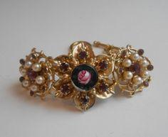 Purple Rhinestone Assemblage Bracelet Vintage by Vinchique on Etsy, $38.00