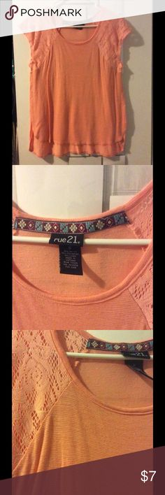 Pin striped t shirt Peachy salmon color -wore once Rue21 Tops Tees - Short Sleeve