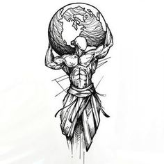 Sketchy Man Holding Earth Tattoo Design