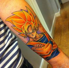 Dragonball Z Super Saiyan Goku Tattoo - Andy Walker http://tattoosgeek.com/cartoon-tattoos/dragonball-z-super-saiyan-goku-tattoo/