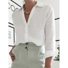 Blouses, Fashion Solid Color V-neck Button-up Blouse Women Blouses For Women, Cheap Blouses, Sleeve Styles, Button Up, Underwear, V Neck, Daily Style, Long Sleeve, Swimwear