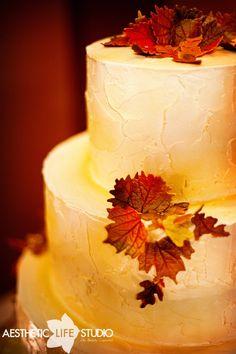 rustic cake/simple fall leaves
