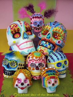 All About Sugar Skulls: Learn All About The Most Famous Day of the Dead Symbol  Want to try making these myself.  Love all kinds of sugar skulls.