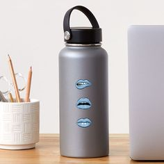 """Blue Lips"" Sticker by MadoMade School Fun, Back To School, Blue Lips, School Items, School Essentials, Some Fun, Water Bottle, Pouch, Stickers"