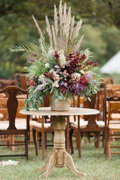 Wild Fall Flower Arrangement Aisle Decoration | Virtu Floral Design | Absolutely Amy | Anna K Photography https://www.theknot.com/marketplace/anna-k-photography-llc-atlanta-ga-597931