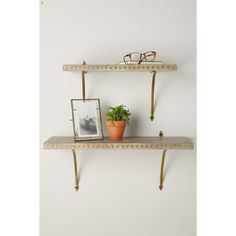 Anthropologie Diamond Inlay Shelf ($68) ❤ liked on Polyvore featuring home, home decor, small item storage and silver