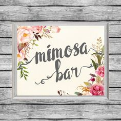 Mimosa Bar Sign. Juice Labels Printable. by SunbirdPrintables