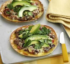 Spicy bean & avocado tostados