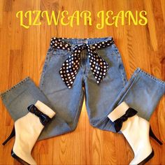 """Lizwear Premium Jeans Very good condition. These run small, as they are also petites. Inseam measures 28"""". Waist measures 15"""" across when flat. 10"""" rise. Straight leg (not skinny's). Priced to sell. Cute leather boots in 1st pic (sz 9) also available. Note: belt and boots are not included in this price. Liz Claiborne Jeans"""