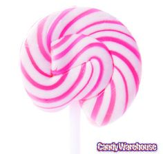 Squiggly Pops Petite Pink & White Swirled Lollipops: 48-Piece Box