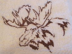 Moose Head Outline On White Bath Hand Towel by cdosehn on Etsy, $5.00