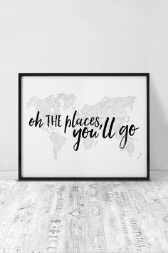 Nursery print, Printable poster, Oh the places you'll go, nursery poster, inspirational print, art, kids decor, Wall art, INSTANT DOWNLOAD