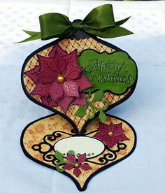 love this Christmas card by lorie Christmas Card Crafts, Christmas Tag, Xmas Cards, Holiday Cards, Greeting Cards, Poinsettia Cards, Heartfelt Creations Cards, Spellbinders Cards, Shaped Cards