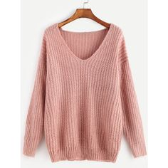 Pink Ribbed Knit V Neck Drop Shoulder Sweater (26 PEN) ❤ liked on Polyvore featuring tops, sweaters, rib knit top, pink top, red v neck sweater, red top and red v neck top