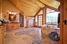 large log master bedroom