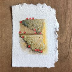 "Mini geometric abstract painting on stained tea bag--neutrals with a pop of red....Tonia Jenny (@toniajenny) on Instagram: ""Day 93 #100daysofteastains"""