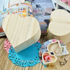 Love Heart Shape Jewelry Box Wood Mud Base Art Decor Children Kid Baby DIY Wooden Crafts Toys -- Check out this great product. Aztec Home Decor, Egyptian Home Decor, Owl Home Decor, Home Theater Decor, Home Decor Quotes, Home Decor Fabric, Home Decor Furniture, Deer Decor, Art Decor