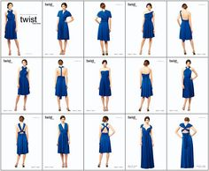 Twist dress -The bridesmaids can wear the same color but change the dress however they want it! 6 different ways to choose from =)