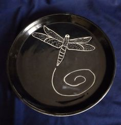 Handmade Dragonfly Plate- Black and White- Porcelain By Daisy Friesen