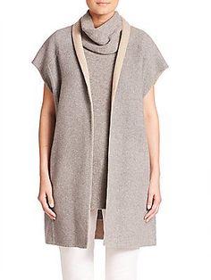 Elie Tahari Reversible Wrap Cardigan - Grey-Twine - Size X-Small