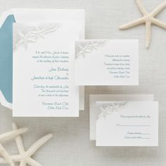 Exclusively Weddings Starfish Wedding Invitation is a beach wedding invitation. Two starfish ride the edge of the wave on this serene wedding invitation.