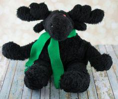 Plush Moose  Black Faux Fur Fabric by DancingFerretCrafts on Etsy