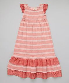 Look what I found on #zulily! Pink Stripe Ruffle Maxi Dress - Girls by orange poppy kids #zulilyfinds