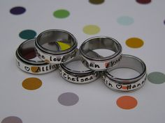 MOTHERS RING Name Rings Hand Stamped Spinner by namejewelrydesigns, $45.00