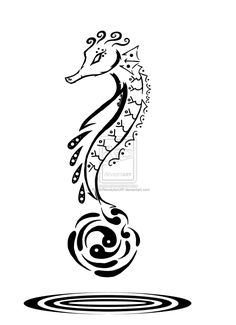 1d12a8448 Tribal Art: Seahorse by PlaguedAce Beachy Tattoos, Love Tattoos, Tribal  Tattoos, Girl