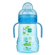 MAM Trainer Cup with nipple and extra soft spout, 8 oz, Boy, Blue Baby Bottles, Drink Bottles, Toys R Us Canada, Baby Learning, Baby Safe, Personalized Baby, Cold Drinks, Breastfeeding, Trainers