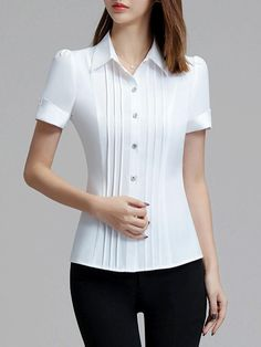 Details about Sweet pleated bodice ruffled ribbon waist blouse shirt Trendy Clothes For Women, Trendy Outfits, Fashion Outfits, Cute Blouses, Blouses For Women, Blouse Dress, Women's Summer Fashion, Blouse Designs, Dame
