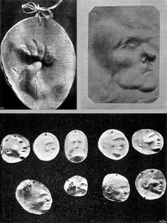 Imprints of ghost hands and faces produced by Eusapia Palladino, from Bozzano, Ipotesi spiritica, 1903, in C. Lombroso Ricerche..., 1909