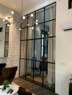 French doors for a Manhattan townhouse Many homeowners find it impossible to install doors if the op Glass Partition Designs, Glass Wall Design, Glass Partition Wall, Living Room Partition Design, Glass Room, Glass Bathroom, French Doors, Home Interior Design, Decoration