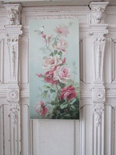 GORGEOUS Christie REPASY CANVAS PRINT PINK ROSES & White BUTTERFLY Vertical