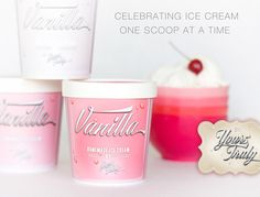 10 Professionally Designed, Pink Ice Cream Pint Containers. Freezer Friendly Packaging for Homemade Ice Cream/Dessert Tables and Gifts