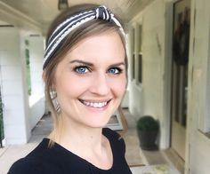 Grey & White Ruffle headband/ grey striped by BlueEyedBabyCouture
