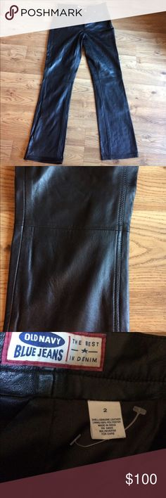"Leather pants Like new, only tried on at home.  Never worn outside the home. Size 2. Rise 9"", inseam 29"". Wist measures 14"" across but I normally wear size 25 jeans.  These fit like jeans with pockets in front and back. 3/4 lined through the lower calf. 100% leather, poly lining. Bought these during my ""biker chick"" years and never wore on the bike!  Believe it or not these are Old Navy, from their days of better quality items.  You would never know these are there lol. Old Navy Pants…"