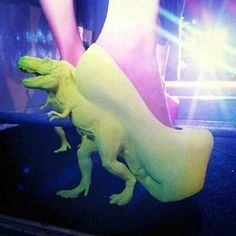 okay I never go for the really weird shoes I love classic heels but come on, Dinosaur Heels!