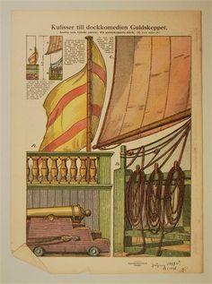 "Kulisser till dockkomedien ""Guldskeppet"".  In: Allers Familj-Journal N:r. 44 23.10. 1928"