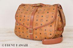 MCM Cognac Visetos PVC / Brown Leather Shoulder Bag