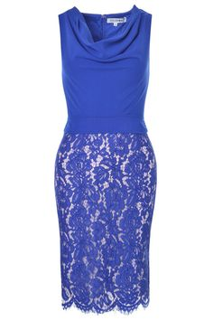 Bodycon Fit Cowl Neck Lace Overlay Back Zip Lots of Stretch