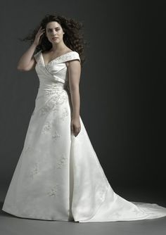 Chapel Train A-Line Plus Size Wedding Gown with Beaded Satin V-neck Style