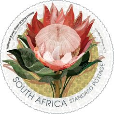 South Africa, National Flower, Giant or King Protea Stamp. Designed by Lize-Marie Dreyer New Africa, Out Of Africa, South Africa, African Theme, African Art, African Symbols, King Protea, Safari, National Symbols