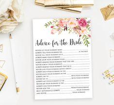Floral Advice for the Bride card printable Bridal Shower husband advice sign Boho chic design Instan Wedding Games, Wedding Advice, Wedding Ideas, Printable Bridal Shower Games, Sign Templates, Floral Watercolor, As You Like, Floral Wedding, Card Games