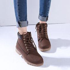 Damen Herren Worker Boots Schnür Stiefeletten Herbst Winter Outdoor Warme  Gefütterte Winterstiefel Wasserdicht Martin Stiefel  f6299cad75