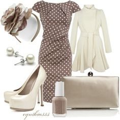 Taupe and Ivory (girls,dress,girl,fashion,style,clothes,polyvore,our picks)